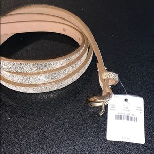 NWT JCREW GOLD CRACKLED LEATHER BELT Medium 41""